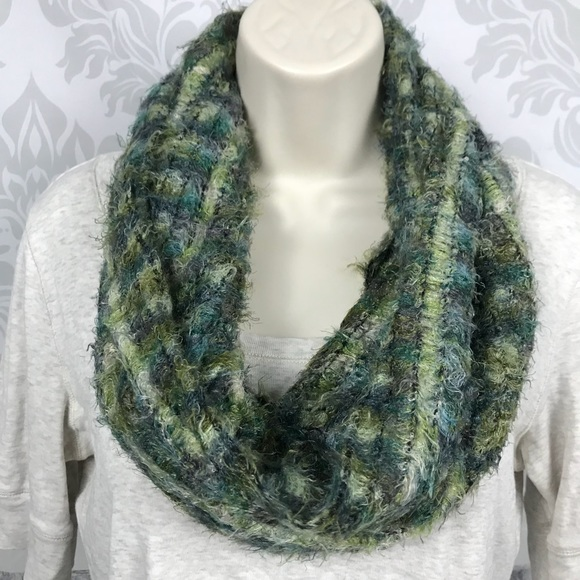 Accessories | New Green Fuzzy Striped Infinity Scarf | Poshmark